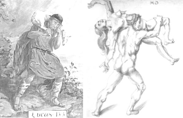 links: Das verlorene Schaf (Der gute Hirte), Willi Langbein, 1930 (Kirche Allermöhe) rechts: Raub der Sabinerinnen, Albrecht Dürer, 1495 (Ausschnitt)